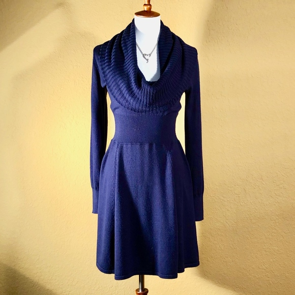 BCBGMaxAzria Dresses   Skirts - BCBGMaxAzria Blue Wool Cowl Neck Sweater  Dress 38feaaed7